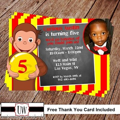 CURIOUS GEORGE PERSONALIZED BIRTHDAY INVITATIONS PARTY FAVORS DIY PHOTO - Curious George Birthday Favors