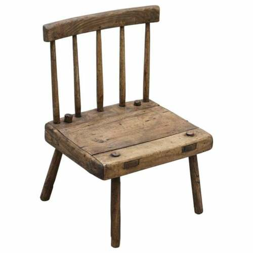 RARE & PRIMATIVE CIRCA 1820 IRISH FAMINE CHAIR ORIGINAL TIMBER 200+ YEARS OLD