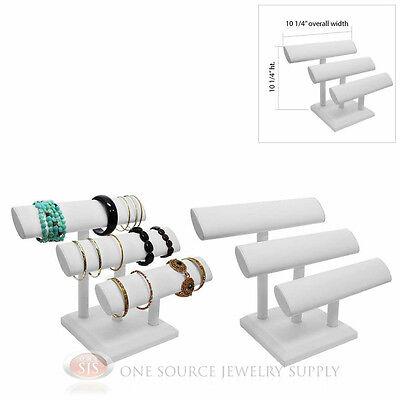 "(2)10 1/4"" White Leather 3 Tier T-Bar Oval Jewelry Bracelet Display Presentation"