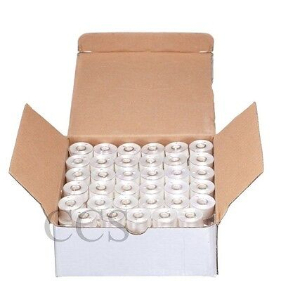 144 WHITE Prewound Bobbins for Brother Embroidery Machine Size A (156)