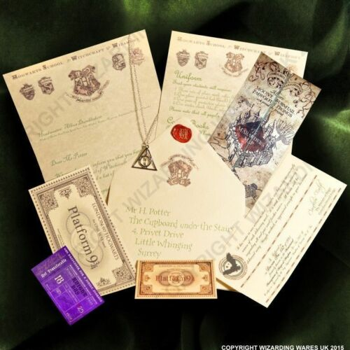 Acceptance Letter Harry Potter Hogwarts, Deathly Hallows Pendant + Marauders Map