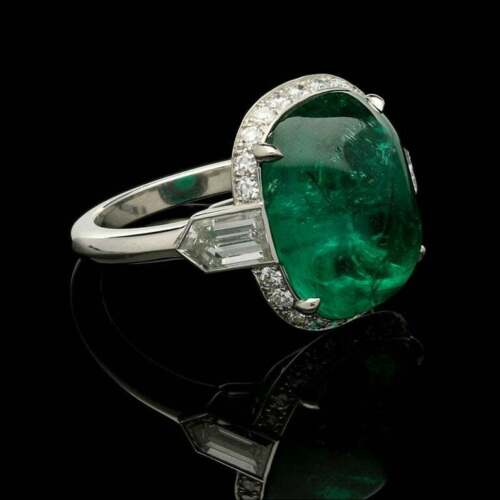 8.68CT Sugar Loaf Cabochon Colombian Emerald With Fancy CZ Art Deco Halo Ring