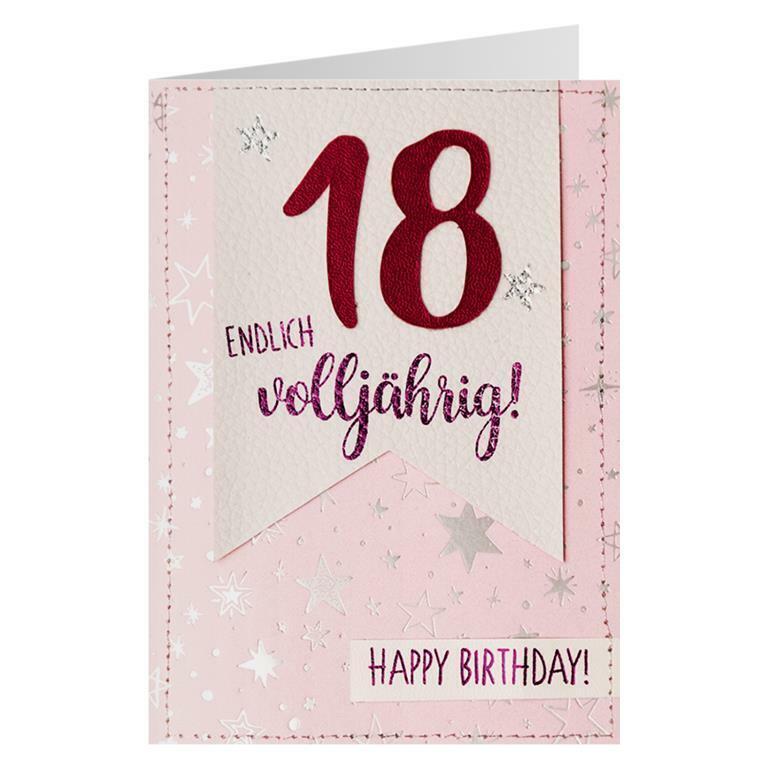 18 Jahre Kunstleder Karte Geburtstag Grußkarte Handarbeit Glückwunsch Geschenk