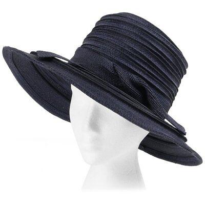 6f5e462101b CHRISTIAN DIOR Chapeaux c.1960 s Navy Blue Raffia Twisted Bow Cartwheel Hat