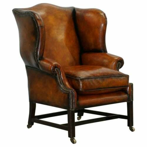 FULLY RESTORED GEORGE III PERIOD CIRCA 1780 WINGBACK BROWN LEATHER ARMCHAIR