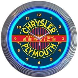 Chrysler Plymouth Approved Service Blue Neon Hanging Wall Clock 15 Diameter