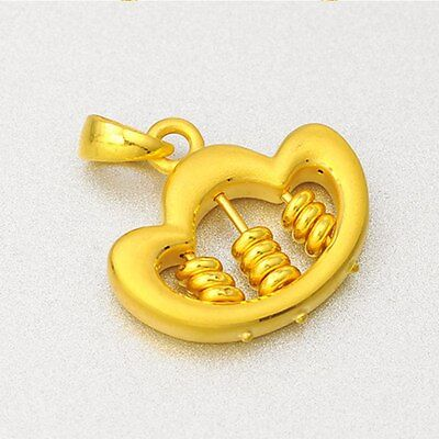 Real 24K Yellow Gold Pendant / 3D Men&Women Ingot Abacus Pendant / 3.3g