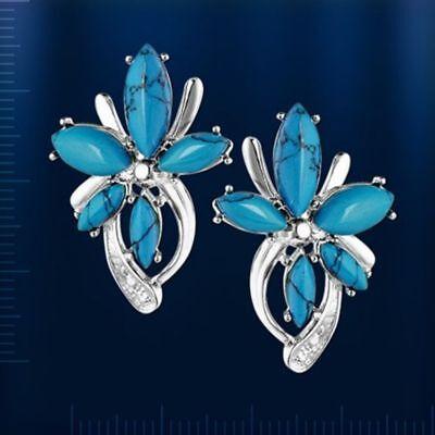 Ohrhänger mit lab Türkis blau und CZ Russische Ohrringe Sterling Silber 925 Neu ()