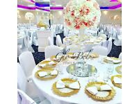 Glo&Bel Events Planner: Wedding Decor for HIRE- chargers plates, chair covers, Flower wall,+more.