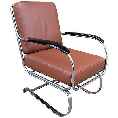 Art Deco KEM Weber for Lloyd Chrome and Leather Lounge Chair