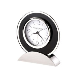 New Modern Contemporary Dexter Silver Black Glass Mantel Desk Table Alarm Clock