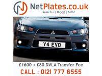 Y4 EVO NetPlates Cherished Car Registration Plate Private Number Plate MITSUBISHI LANCER EVOLUTION