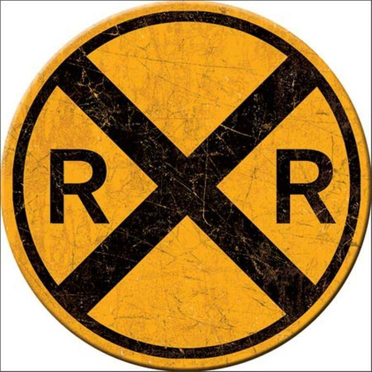 """Railroad RR Crossing Warning Sign Round 3"""" Ice Box Refrigerator Magnet NEW"""