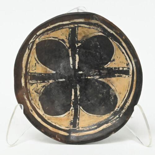 Rare Antique Santo Domingo White on Black dish with negative flower