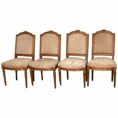 4 Antique French Louis XVI Carved Giltwood Arm Chairs, 19th C