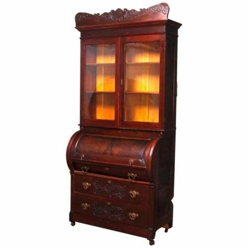 Antique Victorian Carved Burl Walnut Cylinder Bookcase Secretary, circa 1880