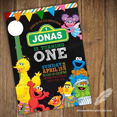 Sesame Street Birthday Party Invitations / elmo abby cadabby big bird - Sesame Street Party Invitations