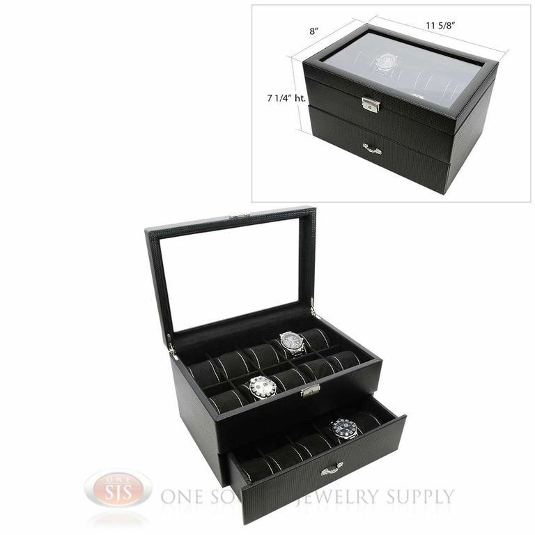 20 Watch Glass Top Black Carbon Fiber Pattern Faux Leather Watch Case Display