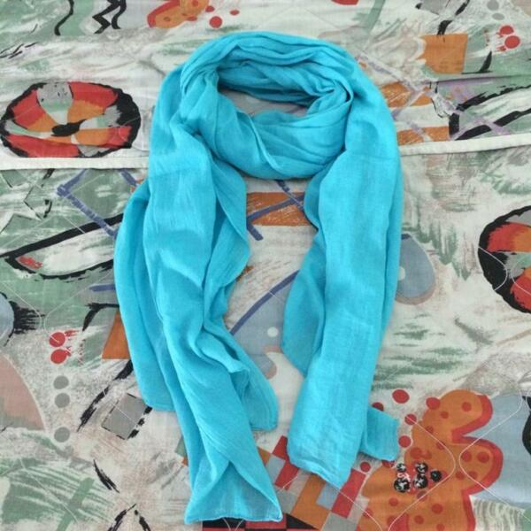 New Cotton Turquoise Big Scarf or Shawl