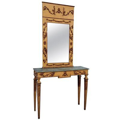 Mirrored Painted Console Table - Italian Neoclassical Style Paint Decorated Console and Mirror