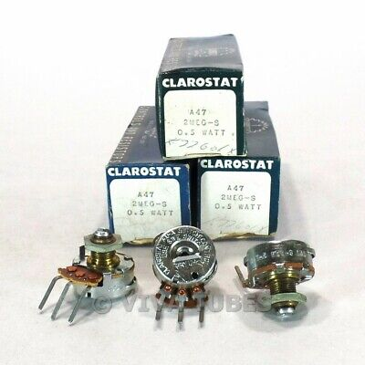 Nos Nib Vintage Lot Of 3 Clarostat Ad-a-switch Control Potentiometer 0.5w 2 Meg
