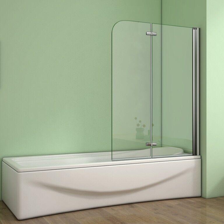 Badewannenaufsatz 2-tlg.Faltwand Duschwand 180°drehbar Nano Glas Duschabtrennung