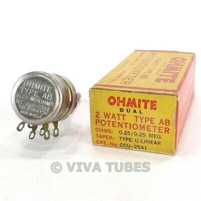 Nos Nib Vintage Ohmite Ccu-2541 Type Ab Dual Potentiometer 2w .25 Meg Ohm 250k