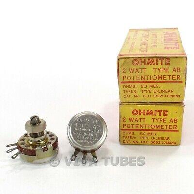 Nos Nib Vintage Lot Of 2 Ohmite Clu-5052-l Potentiometers 2w 5 Meg Ohm