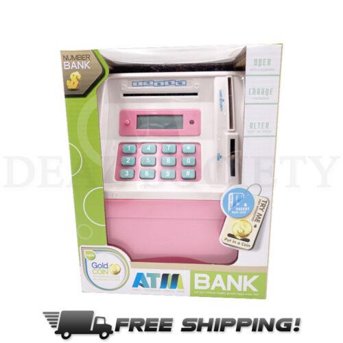 Mini Toy ATM Savings Bank Pink Piggy Bank Machine for Real Money Bank Code Lock