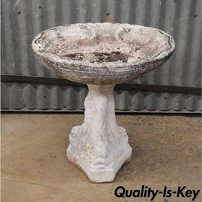 """Small 20"""" Concrete Garden Birdbath 3 Dolphin Fish Pedestal Base Shell Vtg 2 Pc"""