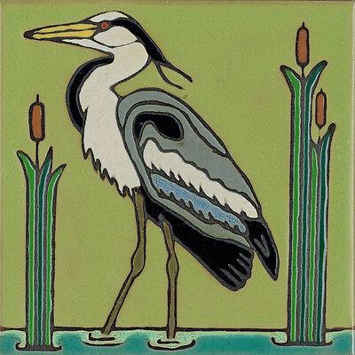 Ceramic Tile Great Blue Heron Bird hot plate wall decor installation -