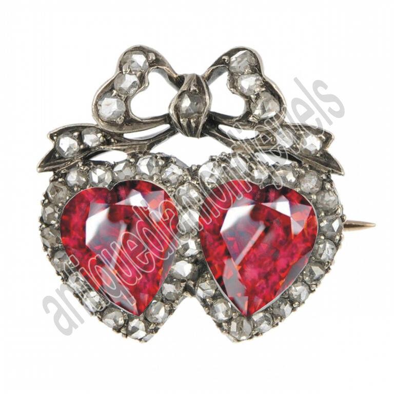 1.20ct Rose Cut Diamond Antique Look 925 Silver Ruby Gemstone Brooch Pin