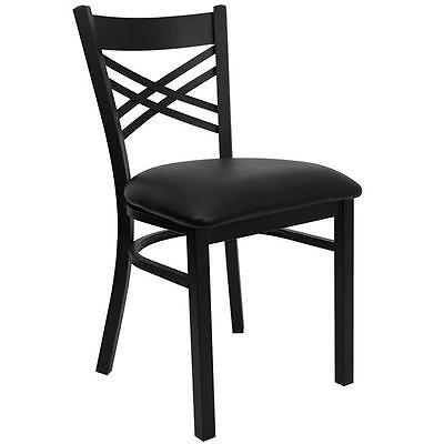 Restaurant X Back Black Metal Chairs With Black Claret Seat