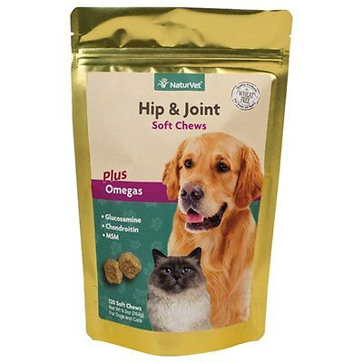 NaturVet Hip and Joint Soft chews for Dogs Cats Pets Vitamins Glucosamine 120 ct ()
