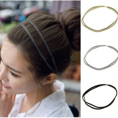 Fashion Women Girl Vintage Elastic Hair Band Double Braided Headband 3 colors