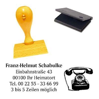 Adressenstempel « RETRO TELEFON » mit Kissen - Firmenstempel Telekommunikation