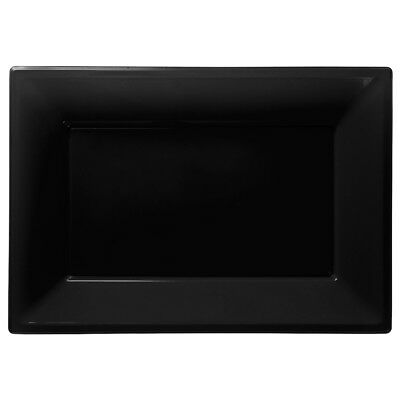 Black Plastic Serving Platters | Tray Party Buffet Food Celebration BBQ Wedding  - Plastic Party Platters