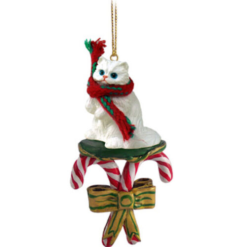 White Persian Cat CANDY CANE Ornament