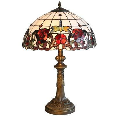 Lighting Tiffany Style Antique Brass and Rose Stained Glass Effect Lamp 16...