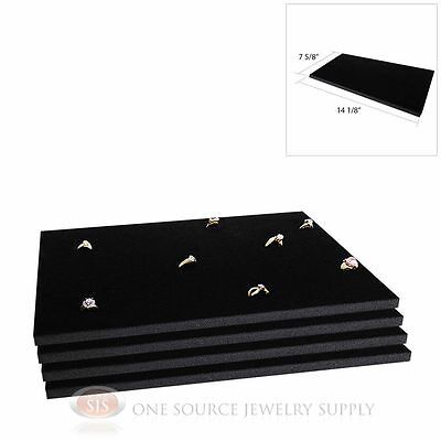 4 Black Ring Display Pads Holds 72 Slot Rings Tray Or Case Jewelry Insert