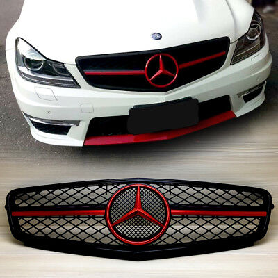Shiny Black Red Metallic Benz C-Class W204/C204 Front Grille C63 Look 08-13