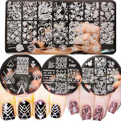 4Pcs/Set Born Pretty Nail Art Stamping Plates Geometry Leaves Stamp Templates