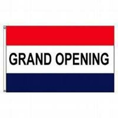 3x5 Ft Grand Opening Red White Blue Retail Business Message Flag Print Polyester