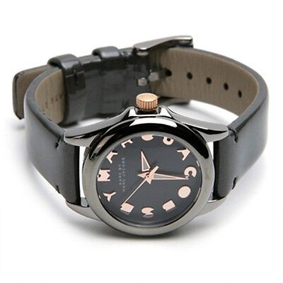MARC JACOBS GUNMETAL GRAY PATENT LEATHER BAND+ROSE GOLD TONE DIAL WATCH MBM1197