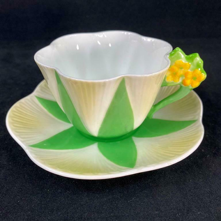 RARE Shelley England Dainty shape Harlequin Flower Handle Cup and Saucer 11993/4