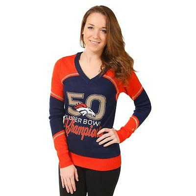 - Denver Broncos Team Logo Super Bowl 50 Champions Womens V-Neck Sweater