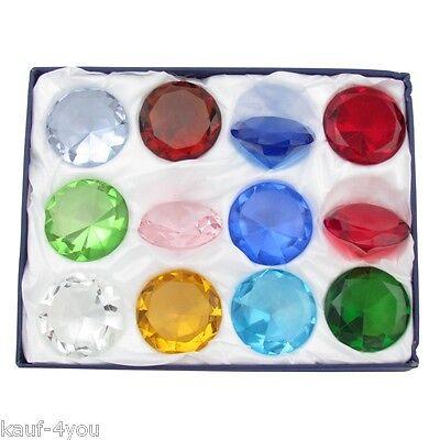 12x 6 cm Glasdiamanten Dekoration Deko Steine Diamantenset Farben Glasdiamant