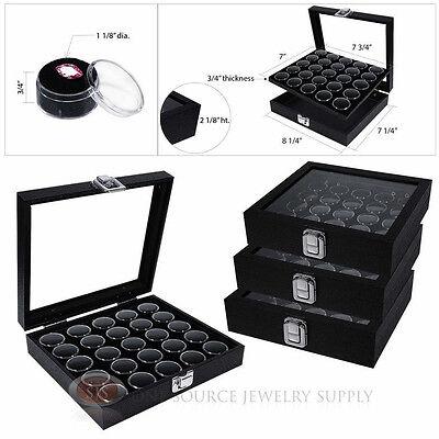 - (4) Black 25 Gem Jar Inserts w/ Glass Top Display Cases Gemstone Storage Jewelry