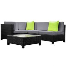 Wicker Rattan 4 Seater Outdoor Lounge Set Point Cook Wyndham Area Preview