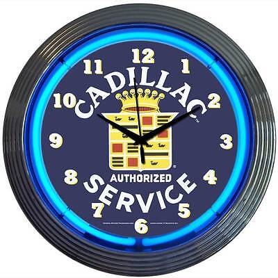 neon clock sign Cadillac Service dealership Man cave garage lamp mechanic gift